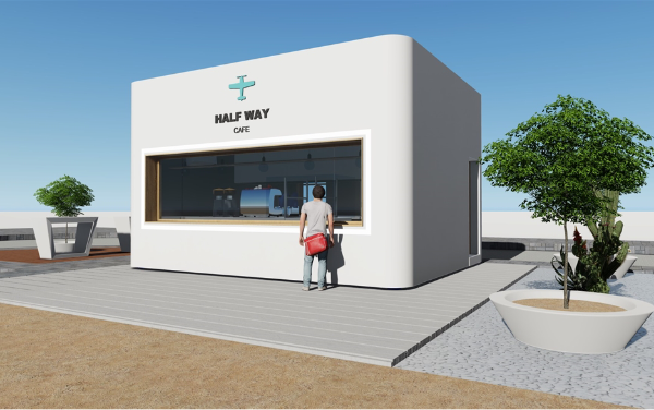 Containerized Cafeteria Half Way ADNOC Containerised Cafeteria, Cafe, shop, restaurant